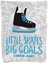 Personalized Hockey Baby & Infant Blanket | Little Skates Big Goals | Carolina