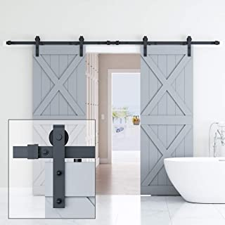 ELICIT 10FT Double Barn Door Hardware, Classic Design Standard Track with Upgraded Nylon Bearings, for 30in Wide Sliding DoorPanel, Easy Installation,Basic J