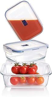 Luminarc Pure Box Active, x 3 Boîtes de Conservation hermétique rectangulaires en verre , 0,82 + 1,22 + 1,97 L