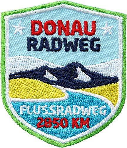 2 x Donau-Radweg Abzeichen gestickt 51 x 60 mm/Aufnäher Aufbügler Sticker Wappen Patch/Radtour Passau Wien Donau-Tal Budapest Fluss Österreich/Fahrrad-Führer Rad-Tourenführer Karte Reise-Führer