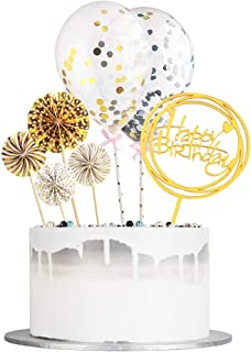 Auteby Happy Birthday Cake Topper - Acrylic Cake Topper, Golden Paper Fans and Confetti Balloon Birthday Party Supplies(7pcs set)