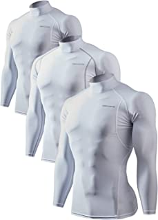 Men's 2~3 Pack Cool Dry Athletic Compression Long Sleeve Baselayer Workout T-Shirts