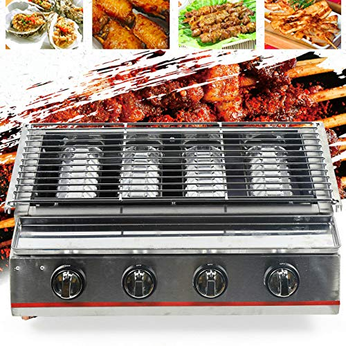 TBVECHI Commercial Gas LPG Grill 2800PA Outdoor BBQ Tabletop Cooker Multi-Function Gas BBQ Grill Outdoor Cooker Stainless Steel (4-Burner) Gas Grills Natural