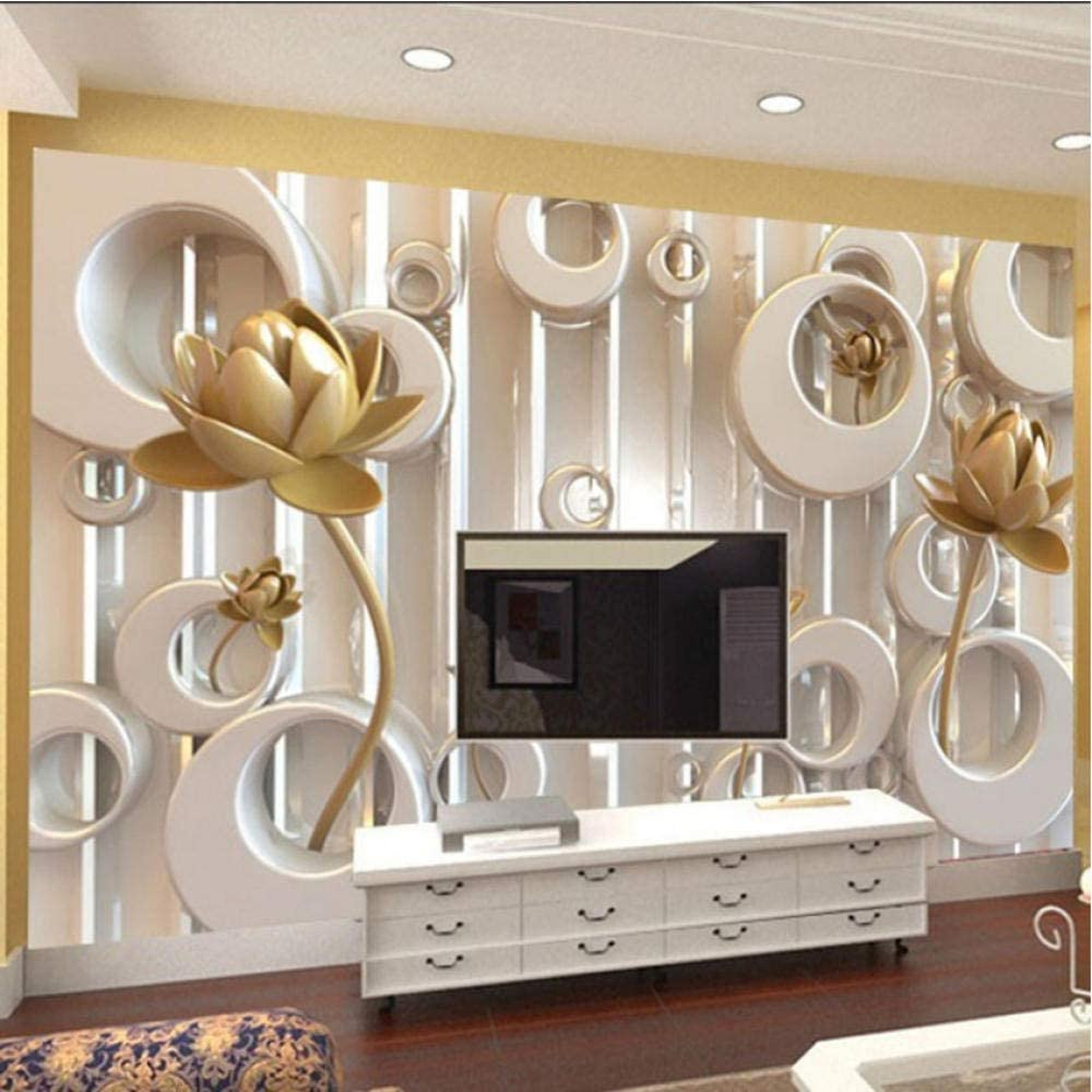 Pbldb 3D Wall Mural Stereoscopic Max 51% OFF Quantity limited Cycle Ring Golden Lotus Custom
