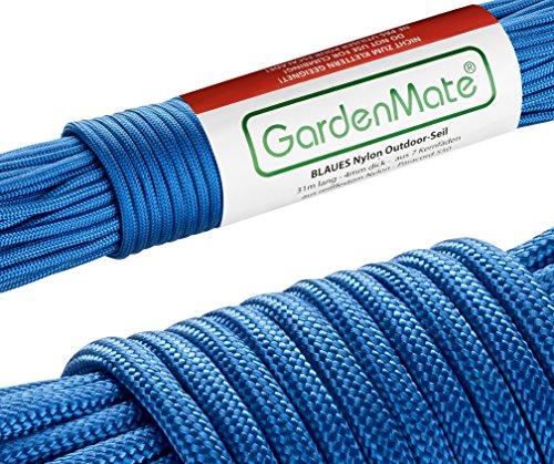 GardenMate Cuerda de Nailon para Exteriores Paracord 550 Profesional I I 31 m Longitud 4 mm Grosor I Cuerda con Revestimiento y núcleo de 7 Hilos de Nailon Resistentes al desgarro
