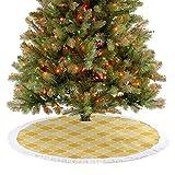 Homesonne Falda de árbol de Navidad con diseño de enrejado en tonos amarillos históricos para fiestas navideñas, hermosa adición destacada caléndula mostaza blanca 77 cm