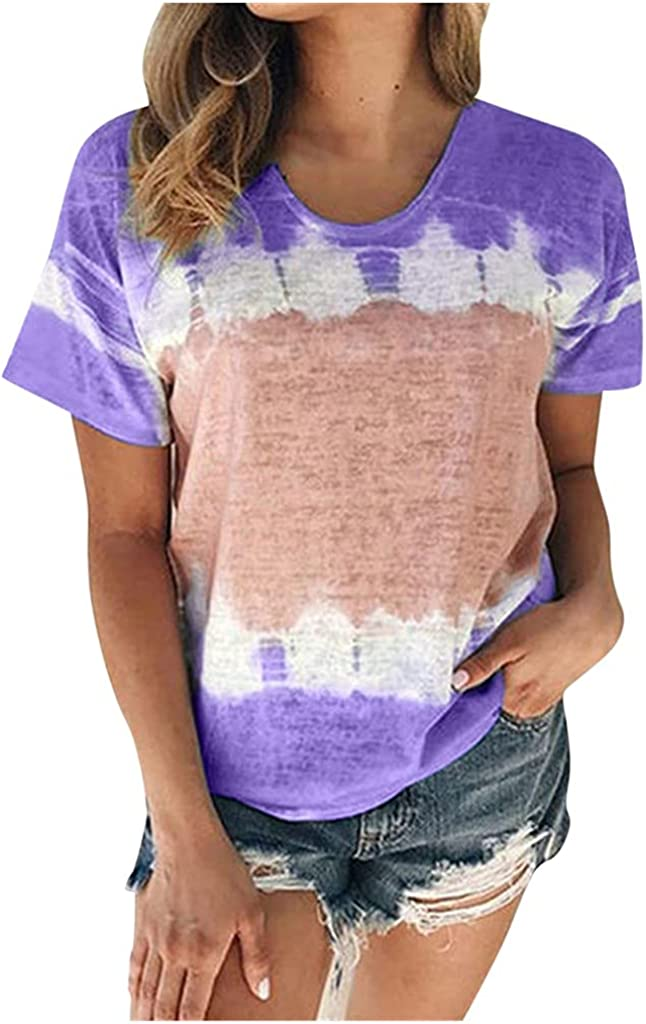 AODONG Womens Summer Tops Tie Dye Shirt Women T-Shirts Short Sleeve Blouse O-Neck Casual Loose Workout Athletic Shirts