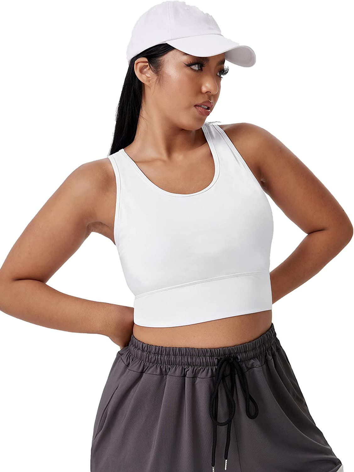 MakeMeChic Women's Plus Size Cut Out Criss Cross Sports Bra with Removable Pads