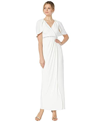 Adrianna Papell Long Draped Gown with Beaded Waist and Capelet (Ivory) Women