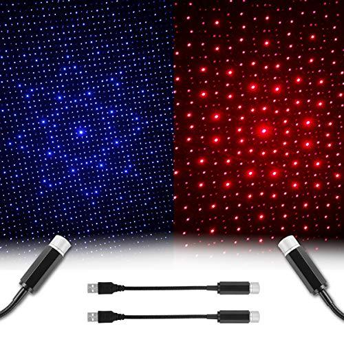 Proyector de estrella USB Luz nocturna - Luces románticas para techo de coche, luz de cielo portátil, decoración para techo de...