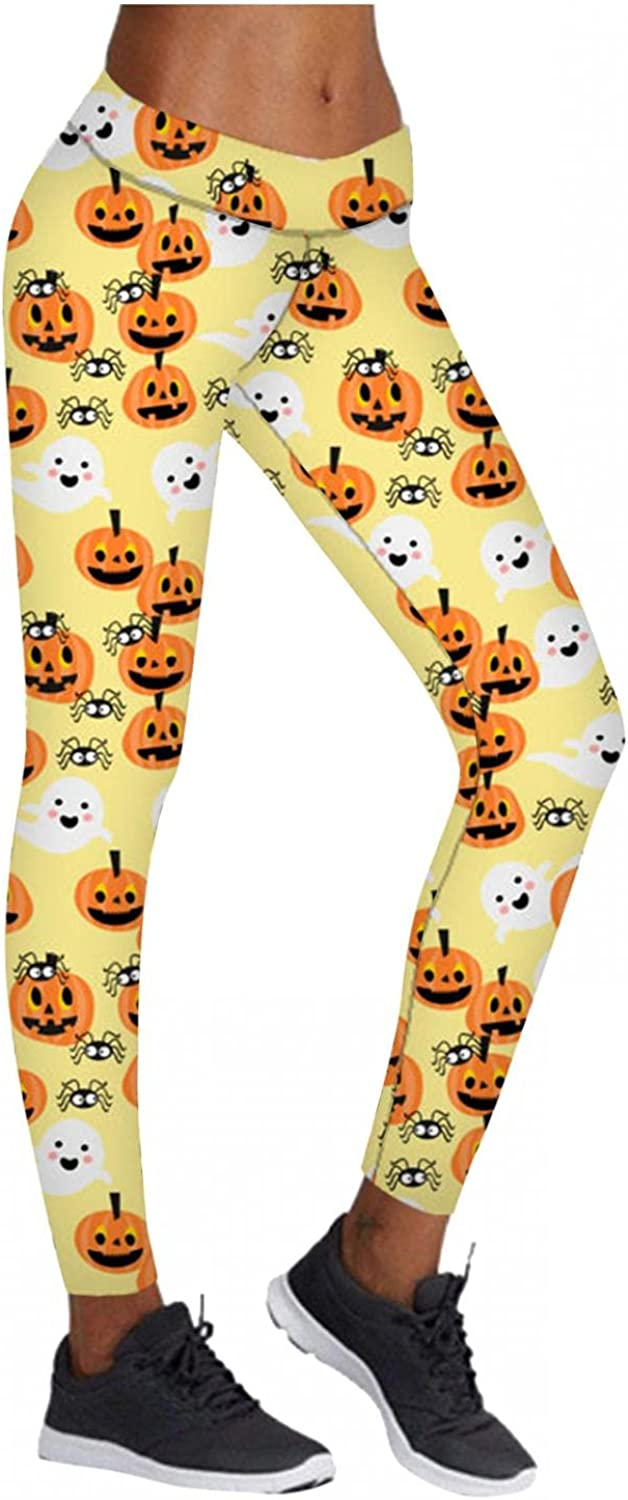 melupa Womens Halloween Funny Graphic Leggings Stretch Full Length Workout Tights High Waist Halloween Party Pants