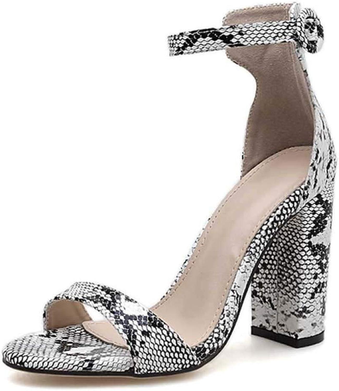 MEIZOKEN Women's Chunky Heel Sandals Fashion Snakeskin Open Toe Ankle Strap High Heel Pumps Sandal