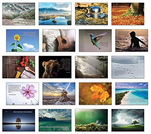 Achtsamkeit, Lebensweisheiten, inspirierende Zitate mit Bildern 20 verschiedene Postkarten Set/Postcrossing