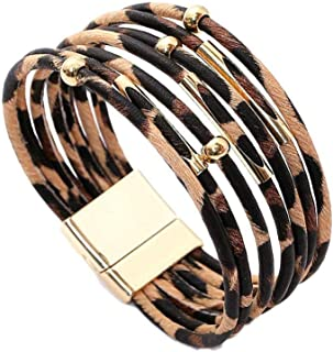 Gijoki Women Leopard Bracelet Metal Pipe Charm Multilayer Wide Leather Wrap Bangle Gift Bangle