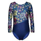 One-piece Gymnastics Leotard Long Sleeves Floral Printed Gold Dance Unitards for Little Girl,Blue,140(7-8Y)