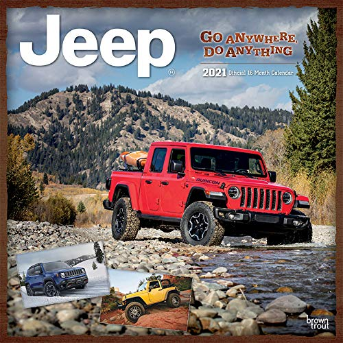 Jeep 2021 12 x 12 Inch Monthly Square Wall Calendar, Offroad Motor Car