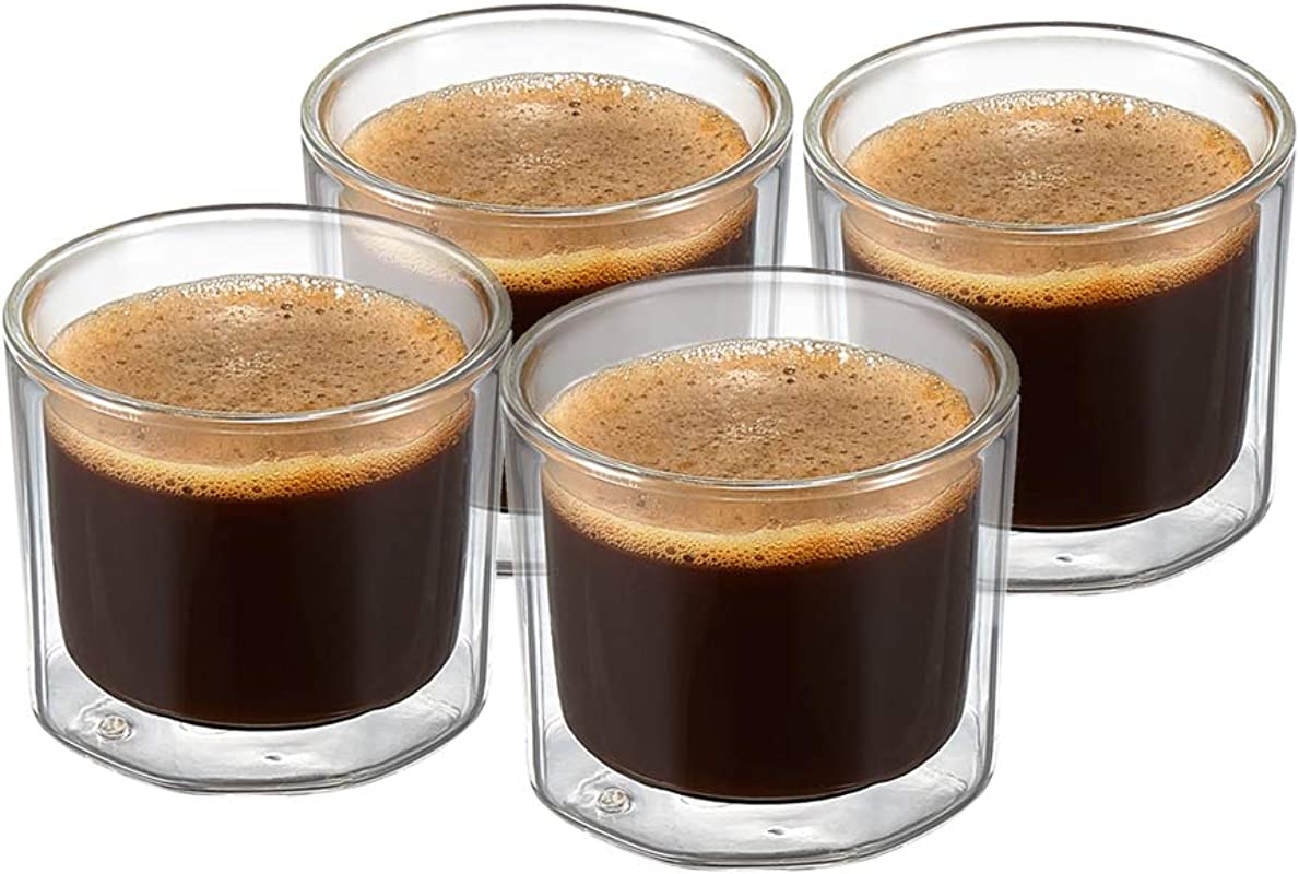 ZENS Espresso Glass Coffee Cups 4 Ounce Double Wall Shot Glasses Mugs Octagon Insulated Demitasse Cups Set Of 4 For Macchiato Or Whisky