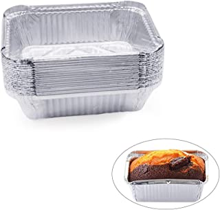MMTX Disposable Aluminum Foil Pan 20 Pack Mini Loaf Pans Small Bread Baking Pans Food Storage Containers for Baking, Meal Prep, BBQ, Party-5.12x6.5inch