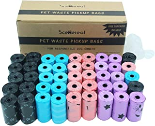 SCENEREAL Biodegradable Dog Poop Bags with Dispenser 45 Rolls/ 900 Counts Waste Bag Thick and Leak Proof Colorful (Black, Blue, Pink, Purple)