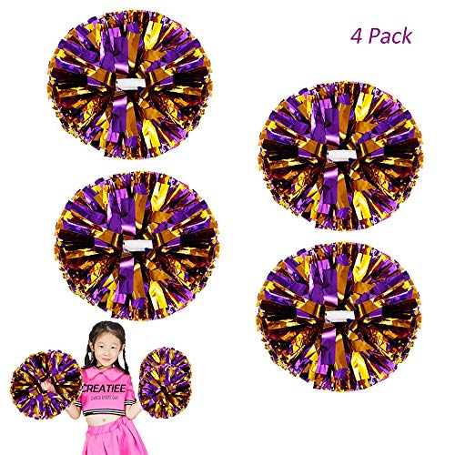 Creatiees 4 Stücke Cheerleading Pom Poms für Kinder, Cheerleader Cheerleading Pompons Metallisch Zum Junge Mädchen Schule Sport Prost Ball Tanz Verrücktes Kleid Nacht Party (Lila-Gold)