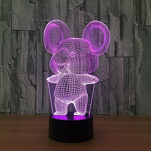 Koala - Lámpara de escritorio 3D, luz de noche, LED, 7 colores, cambiable, para decoración de mesa, con cable USB, para decoración de habitación, regalo de cumpleaños, Navidad, juguetes para niños