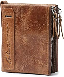 Men Short Wallet Pocket Coin Wallets Zipper Cow Leather Money Clip