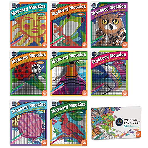 MindWare Color by Number Mystery Mosaics Set of 8 Books with 36 Colored Pencils