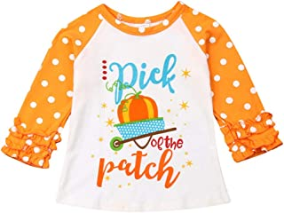 TOPBIGGER Infants Solid Long Sleeve Top Toddler Kids Baby Girl Pumpkin Ruffles Long Sleeve T-Shirt Tops Outfits Round Neck T-Shirt Outfits Children Blouses Tops Clothes 6M-5Y