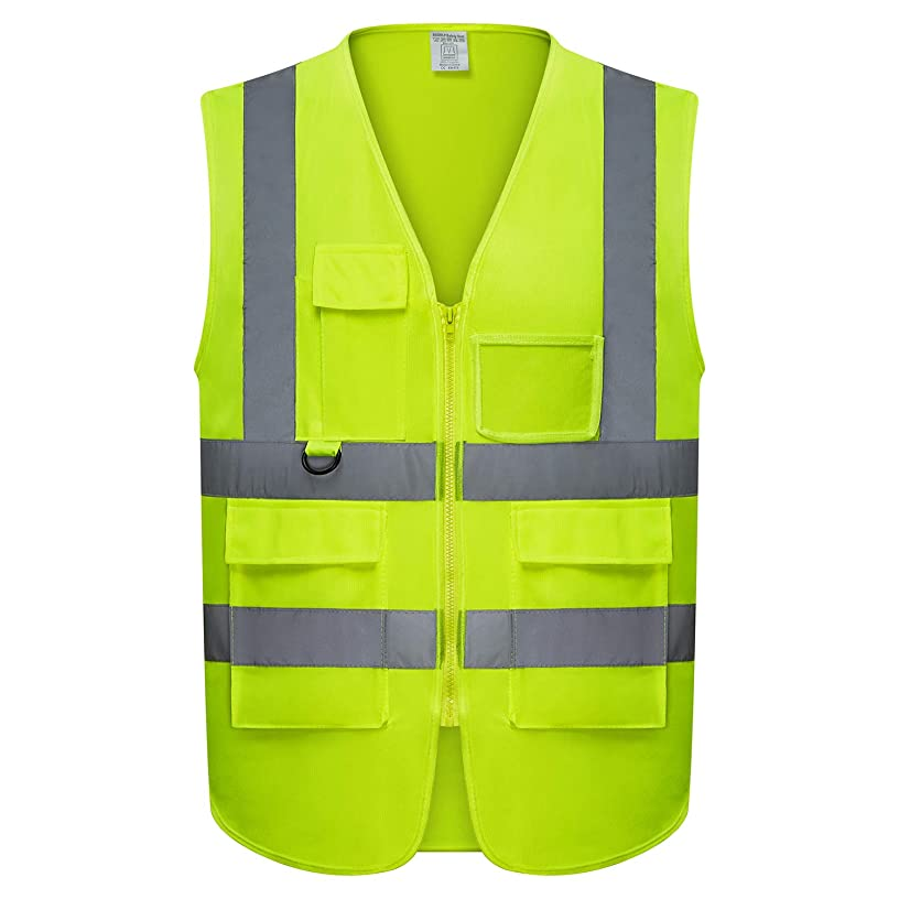 Safety Vest | 5 Pockets | High Visibility Reflective Strips | Color Neon Yellow (XXXL)