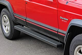 APS iBoard (Black Powder Coated 4 inches) Running Boards Nerf Bars Side Steps Step Rails Compatible with 1984-2000 Jeep Cherokee Sport Utility 4-Door