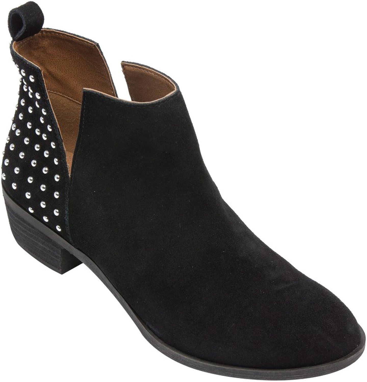 PIC  PAY Claire - Woherrar Studded Ankle Ankle Ankle stövlar - Western mocka läder Low Stack Heel Booslips svart mocka 9.5M  vi tar kunder som vår gud