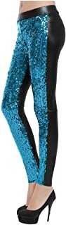 Sosite Women Faux Leather Sequins Shiny Party Leggings Skinny Pencil Pants