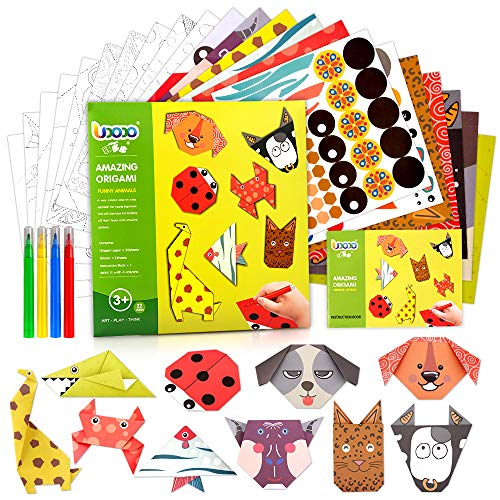 Origami Paper Art Kits for Kids 3 4 5 6 Years Old, DIY Origami Arts and Crafts for Girls Boys Paper Craft Present for 4-8 Children Girl Birthday Gifts Age 6 7 8 Christmas New Year Halloween Toys