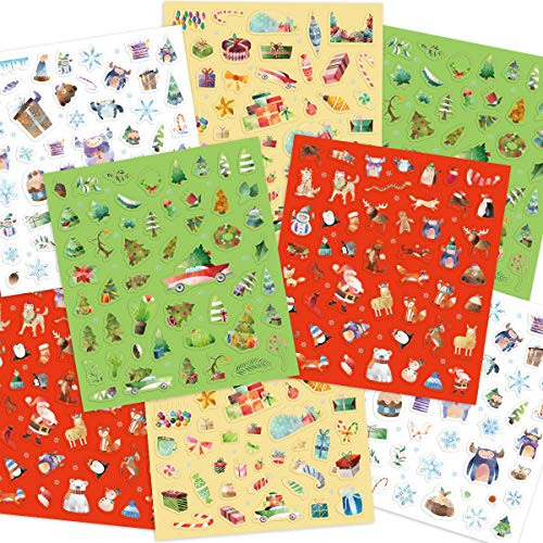 Watercolor Christmas Stickers 8 Sheets 400 Christmas Stickers for Kids Party Favor