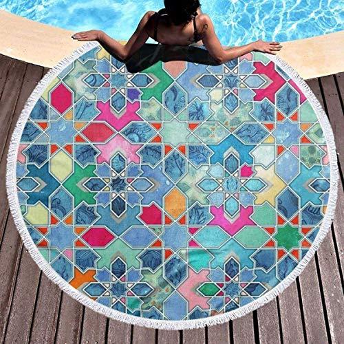 Nazi Mie Runde Strandtuchdecke Hübsche Pastell Marokkanische Fliesen Mosaik Strand werfen große Strandtücher Picknick Teppich Matte
