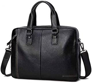 """KEHUITONG Waterproof Business Briefcase - Men's Laptop Bag, Travel Office Business Waterproof Vintage Crossbody Bag, Tote Bag 14"""" Black Leather Briefcase Toothbrush, comfortable electric toothbrush, e"""