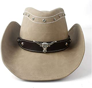 SHENTIANWEI Leather Men Western Cowboy Hat for Gentleman Cowboy West Hunter Sombrero Caps Godfather Hats