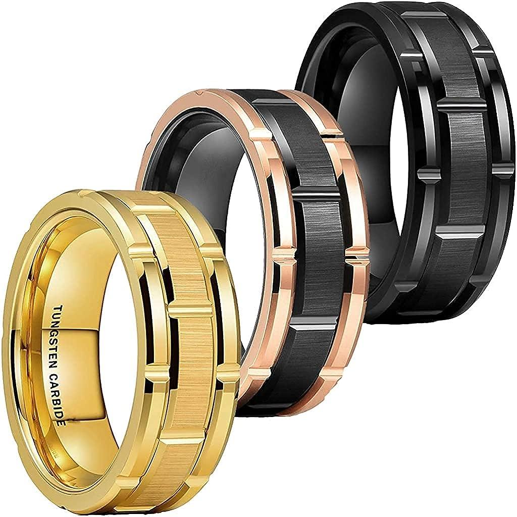 Tungsten Carbide Wedding Band Ring Classic Mens Brick Pattern Brush Finish (Black-Rose Gold, Gold, Black) Size 8mm Ring Size 8-13