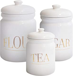 American Atelier 6957-CAN-RB Pantry Tea Canister Set 3-Piece Ceramic Jars Chic Design With Lids for Cookies, Candy, Coffee, Flour, Sugar, Rice, Pasta, Cereal & More, 4.75x7.75, White
