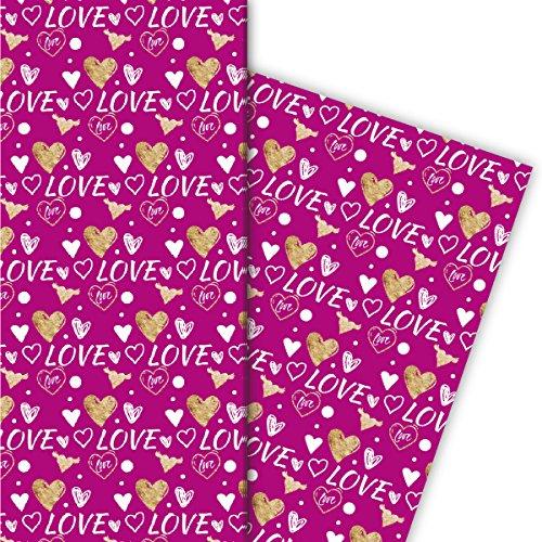 Kartenkaufrausch Romantisch liefdesgeschenkpapier set met hartjes, ook voor Valentijnsdag, wit op roze, 4 vellen, 32 x 47,5 cm decorpapier, inpakpapier om te knutselen