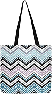 Tribal Ethnic Zig Zag Chevron Pattern Canvas Tote Handbag Shoulder Bag Crossbody Bags Purses For Men And Women Shopping Tote