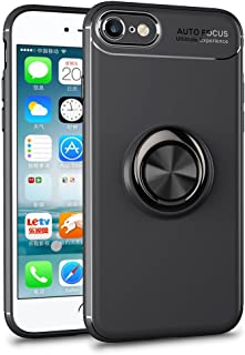 HXAYR iPhone 6s/6 Case, Slim Thin [Kickstand] Soft Flexible TPU Back Cover with Rotating Ring Grip Holder Stand Protective Case [Compatible with Magnetic Car Mount] for iPhone 6/iPhone 6s - Black