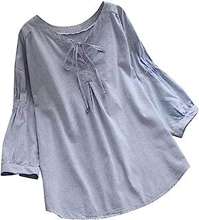 Women's 3/4 Sleeve Cotton Linen Pullover Jacquard Front Tie Knot Blouses Top T-Shirt
