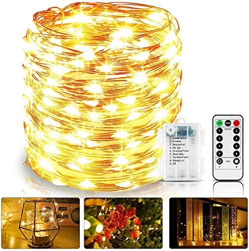 Guirnalda Luces Pilas, Luces LED Pilas,Cadena de Luces LED Impermeable IP65, 12M 120 LED Luces LED Habitacion, Micro Alambre de Cobre para Jardines,Boda,Hogar[Clase de eficiencia energética A+++]