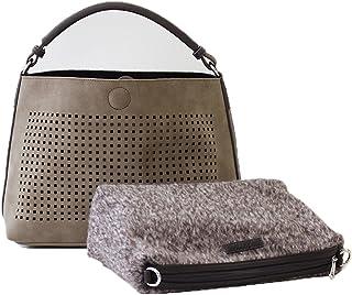 [エルエスシーン] Ls Scene ワンハンドル スエード調パンチング ハンドバッグ 2way バッグインバッグ付