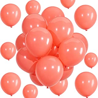 Hestya Coral Balloons 100 Pack 10 Inch Party Balloons Coral Latex Balloons for Weddings, Birthday Party, Bridal Shower, Party Decoration (10 Inch, Coral)