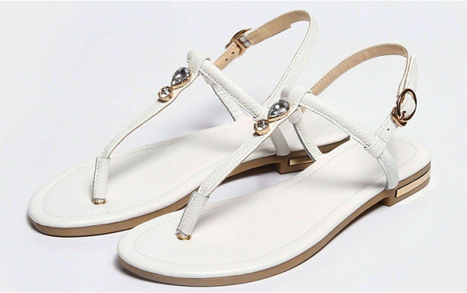 Genuine Leather Women Flats Sandals Casual Buckle Strap shoes
