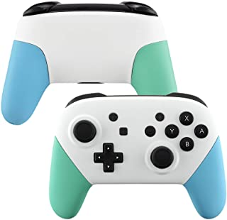 eXtremeRate White Faceplate Backplate Mint Green Heaven Blue Handles for Nintendo Switch Pro Controller, DIY Replacement G...