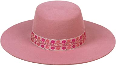 Lack of Color Women's Sierra Rose Wide-Brimmed Wool Boater Hat
