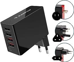 Rampow Chargeur Secteur USB 4 Ports (34W/6.8A) - Garantie à Vie - Adaptateur Prise Americaine USA/ Anglaise/ Chinoise/ Japon/ Canada - Chargeur Rapide pour iPhone, iPad, Samsung - Noir